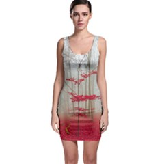 Magic Forest In Red And White Sleeveless Bodycon Dress