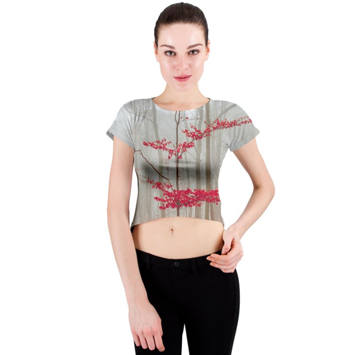 Magic Forest In Red And White Crew Neck Crop Top