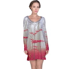 Magic Forest In Red And White Long Sleeve Nightdress