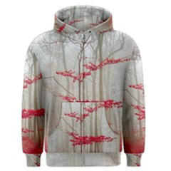 Magic Forest In Red And White Men s Zipper Hoodie