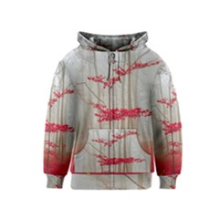 Magic Forest In Red And White Kids  Zipper Hoodie