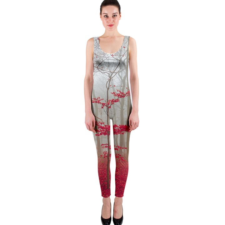 Magic Forest In Red And White OnePiece Catsuit