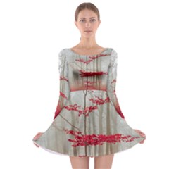 Magic Forest In Red And White Long Sleeve Skater Dress by wsfcow