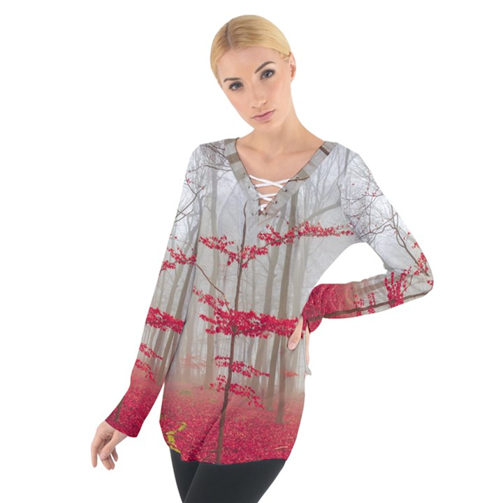 Magic Forest In Red And White Women s Tie Up Tee