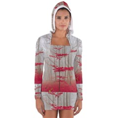 Magic Forest In Red And White Women s Long Sleeve Hooded T Shirt by wsfcow