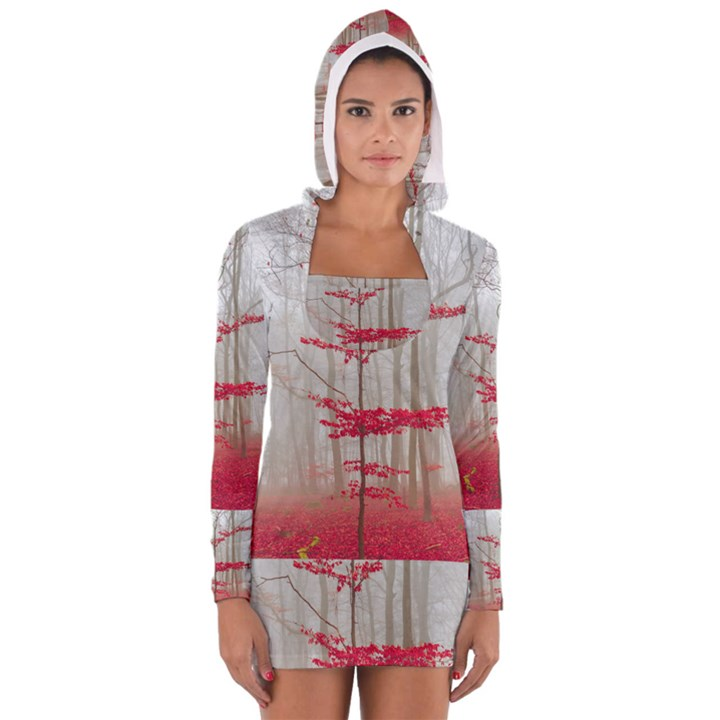 Magic Forest In Red And White Women s Long Sleeve Hooded T-shirt