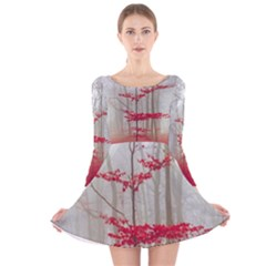 Magic Forest In Red And White Long Sleeve Velvet Skater Dress by wsfcow