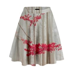 Magic Forest In Red And White High Waist Skirt by wsfcow