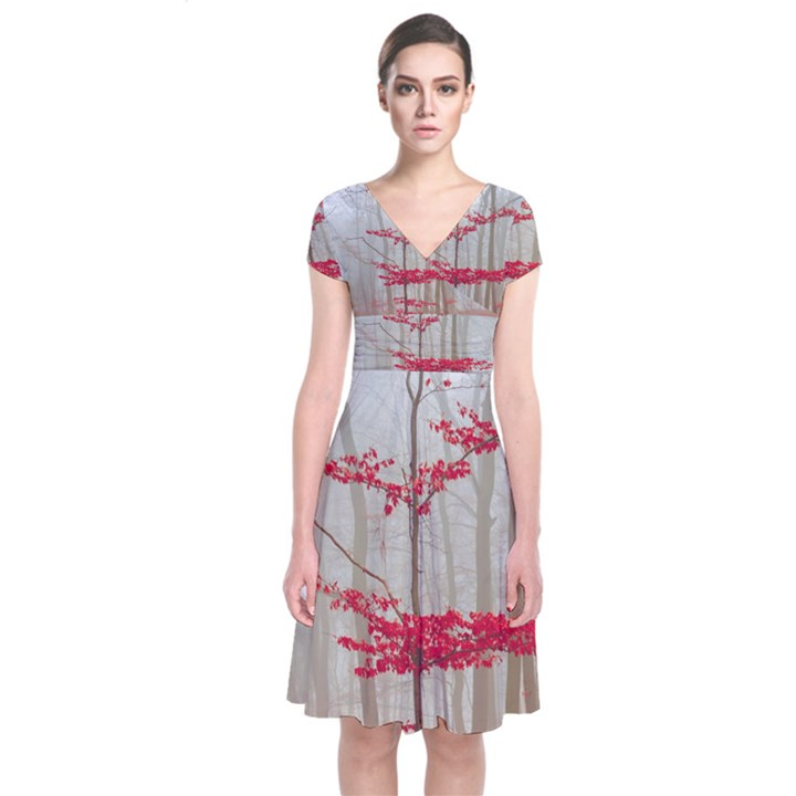 Magic Forest In Red And White Short Sleeve Front Wrap Dress