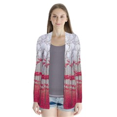 Magic Forest In Red And White Drape Collar Cardigan by wsfcow