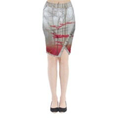 Magic Forest In Red And White Midi Wrap Pencil Skirt by wsfcow