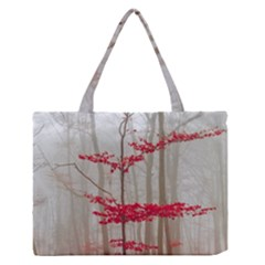 Magic Forest In Red And White Medium Zipper Tote Bag