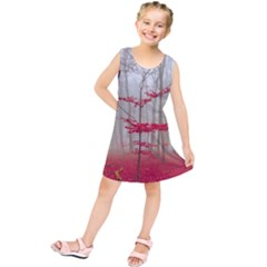 Magic Forest In Red And White Kids  Tunic Dress by wsfcow