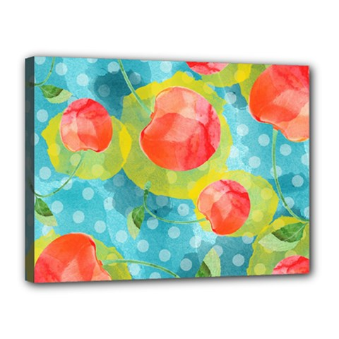 Red Cherries Canvas 16  X 12  by DanaeStudio