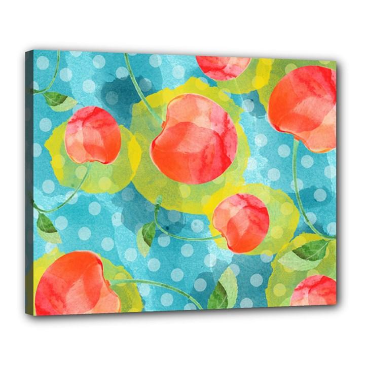 Red Cherries Canvas 20  x 16