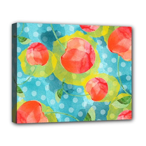 Red Cherries Deluxe Canvas 20  X 16   by DanaeStudio
