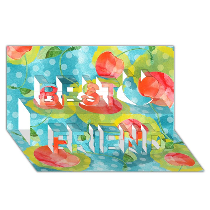 Red Cherries Best Friends 3D Greeting Card (8x4)