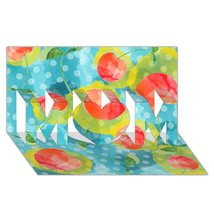 Red Cherries MOM 3D Greeting Card (8x4)