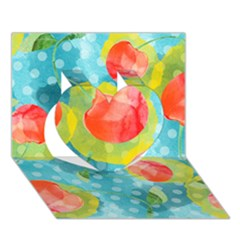 Red Cherries Heart 3d Greeting Card (7x5)