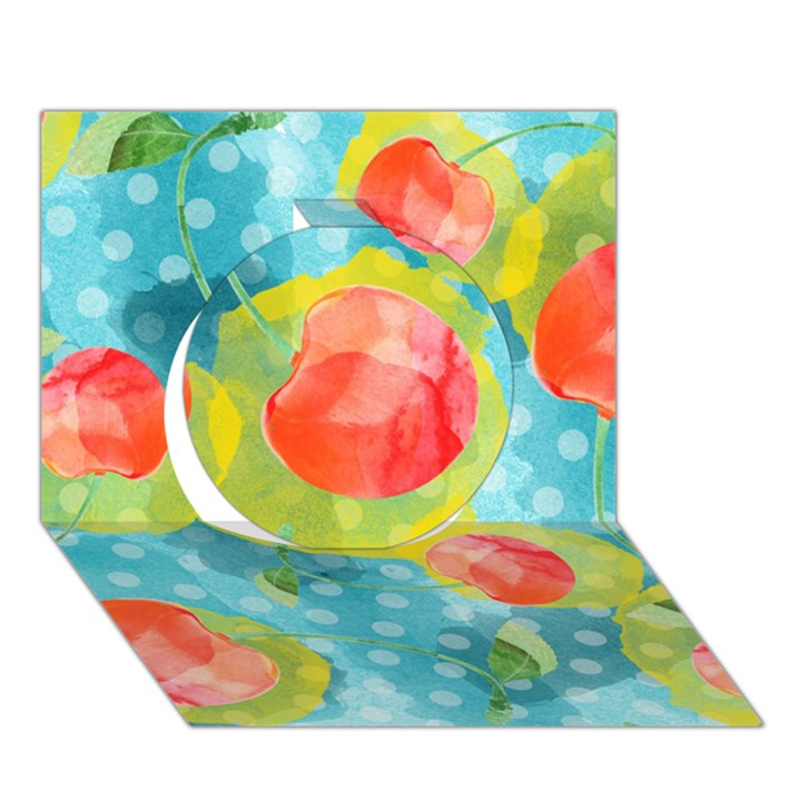 Red Cherries Circle 3D Greeting Card (7x5)