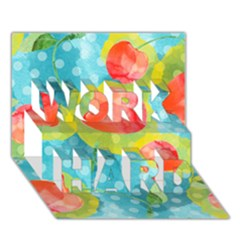 Red Cherries Work Hard 3d Greeting Card (7x5) by DanaeStudio