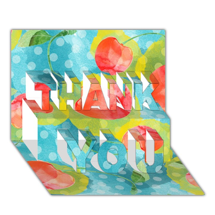 Red Cherries THANK YOU 3D Greeting Card (7x5)
