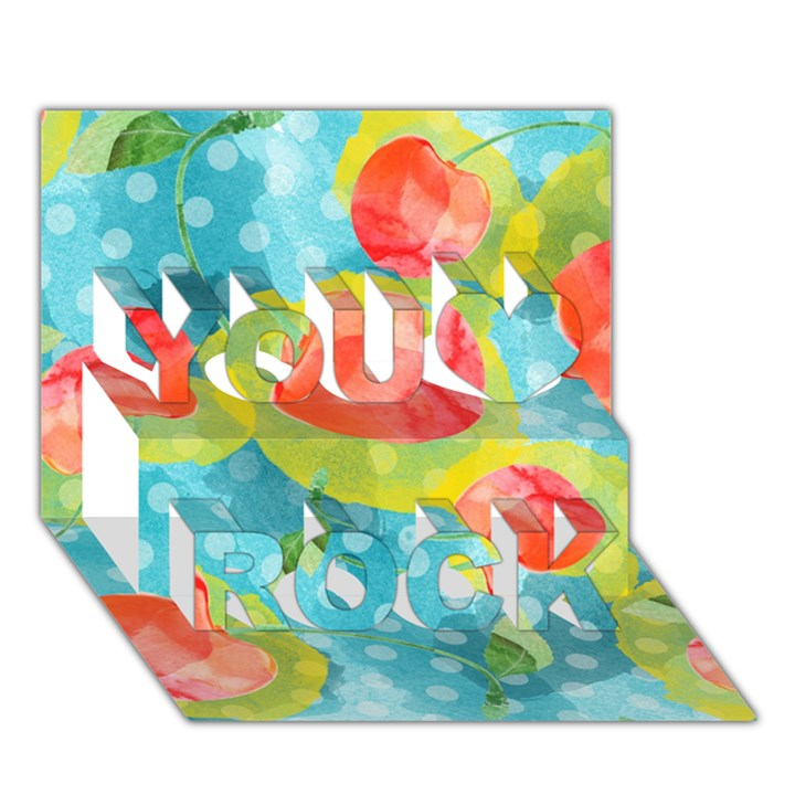 Red Cherries You Rock 3D Greeting Card (7x5)
