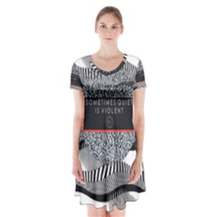 Sometimes Quiet Is Violent Twenty One Pilots The Meaning Of Blurryface Album Short Sleeve V Neck Flare Dress by Onesevenart