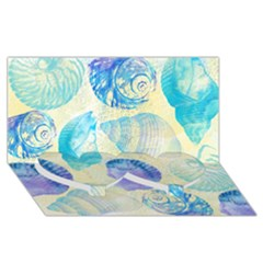 Seashells Twin Heart Bottom 3D Greeting Card (8x4)