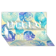 Seashells Merry Xmas 3d Greeting Card (8x4) by DanaeStudio