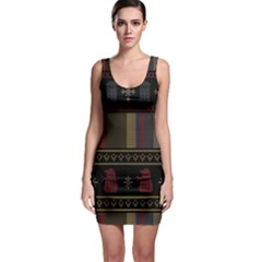 Tardis Doctor Who Ugly Holiday Sleeveless Bodycon Dress by Onesevenart