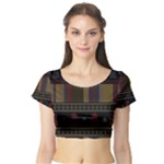 Tardis Doctor Who Ugly Holiday Short Sleeve Crop Top (Tight Fit)