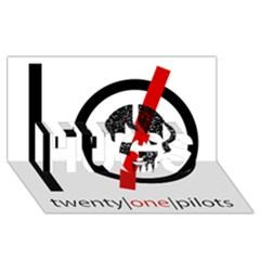 Twenty One Pilots Skull Hugs 3d Greeting Card (8x4) by Onesevenart