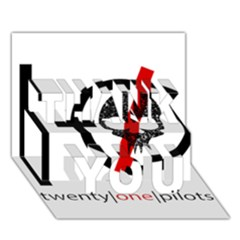 Twenty One Pilots Skull Thank You 3d Greeting Card (7x5) by Onesevenart