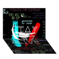Twenty One Pilots Stay Alive Song Lyrics Quotes Circle 3d Greeting Card (7x5) by Onesevenart