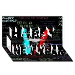 Twenty One Pilots Stay Alive Song Lyrics Quotes Happy New Year 3d Greeting Card (8x4) by Onesevenart