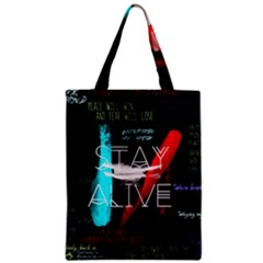 Twenty One Pilots Stay Alive Song Lyrics Quotes Zipper Classic Tote Bag by Onesevenart
