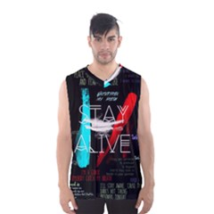 Twenty One Pilots Stay Alive Song Lyrics Quotes Men s Basketball Tank Top by Onesevenart