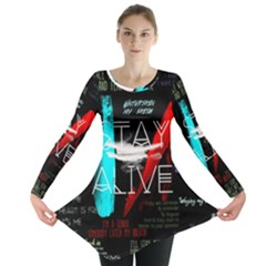Twenty One Pilots Stay Alive Song Lyrics Quotes Long Sleeve Tunic  by Onesevenart