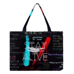 Twenty One Pilots Stay Alive Song Lyrics Quotes Medium Tote Bag by Onesevenart