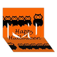 Happy Halloween   Owls I Love You 3d Greeting Card (7x5) by Valentinaart