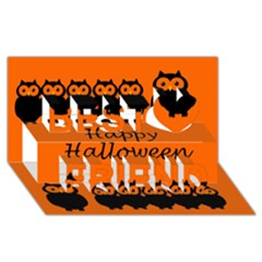 Happy Halloween   Owls Best Friends 3d Greeting Card (8x4) by Valentinaart