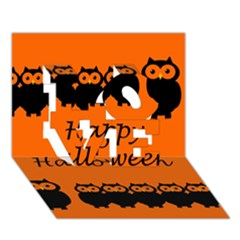 Happy Halloween   Owls Love 3d Greeting Card (7x5) by Valentinaart