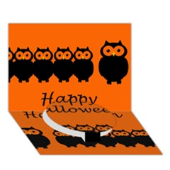 Happy Halloween   Owls Circle Bottom 3d Greeting Card (7x5) by Valentinaart