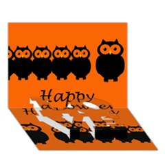 Happy Halloween   Owls Love Bottom 3d Greeting Card (7x5) by Valentinaart