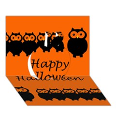 Happy Halloween   Owls Apple 3d Greeting Card (7x5)