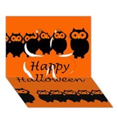 Happy Halloween   Owls Clover 3d Greeting Card (7x5)