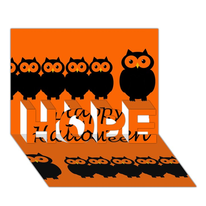 Happy Halloween - owls HOPE 3D Greeting Card (7x5)