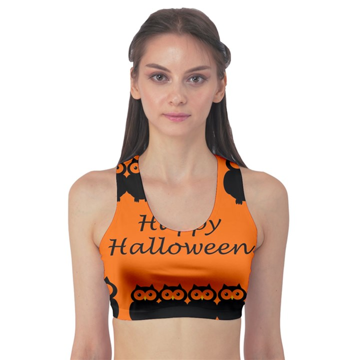 Happy Halloween - owls Sports Bra
