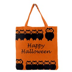 Happy Halloween   Owls Grocery Tote Bag by Valentinaart